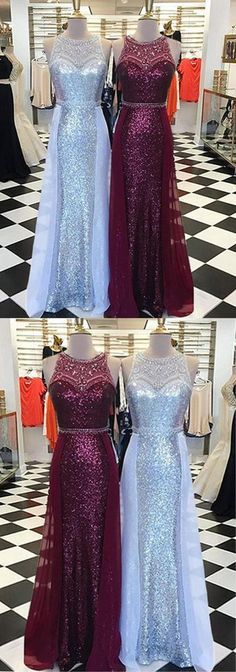 Luxurious long scoop neck customize sequins and beaded evening dress with removable tulle skirt #prom #dress #gowns #promdress