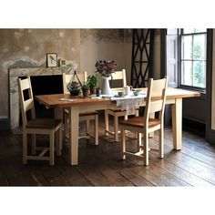 Cheltenham Cream 180cm-230cm Ext. Table and 6 Ladderback Chairs (C410) with Free Delivery | The Cotswold Company