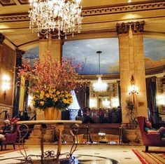 Lobby elegance #RooseveltNYC Nyc Hotels, Best Hotels, Rooftop Lounge, Roosevelt, New York City, Ceiling Lights, Usa, Elegant, Luxury