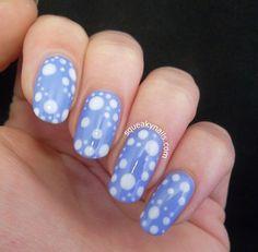 Lady Gaga artRave Octopus Girl Nails #blue #whitedotted #mani #polish #nailart - bellashoot.com
