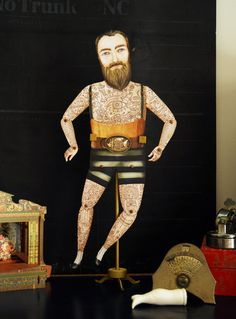 Tattoo Paper Art Doll with Beard Illustrated por crankbunny en Etsy