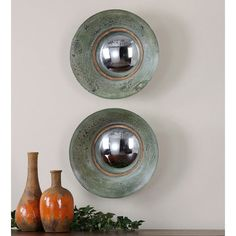 Uttermost Forbell Aged Round Mirrors Set of 2 13860