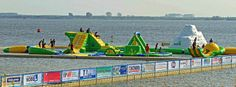 Aqua Splash Park in Hellevoetsluis is the only open water playground in the Netherlands! The park is open from June 1 to September 30 for anyone with a swimming certificate. The entrance fee is  € 4.00 per person per hour.