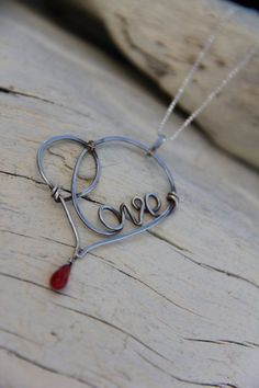 Wire wrap heart necklace pendant, love, heart pendant, necklace in sterling silver or copper