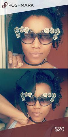 Blinged cat eyed sunglasses Black large cat eyed sunglasses Accessories Glasses