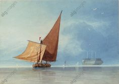 """Cotman, Miles Edmund 1810–1858. """"Shipping at the Entrance of the Medway, Kent"""", undated. Barge;"""