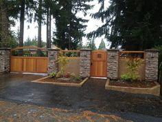Craftsman Western Red Cedar Wood Gates- Love the peak a boo hole in the gate door!