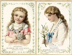 Set 2 Mourning Dry Goods Philadelphia PA Beautiful Girls Antique Trade Cards