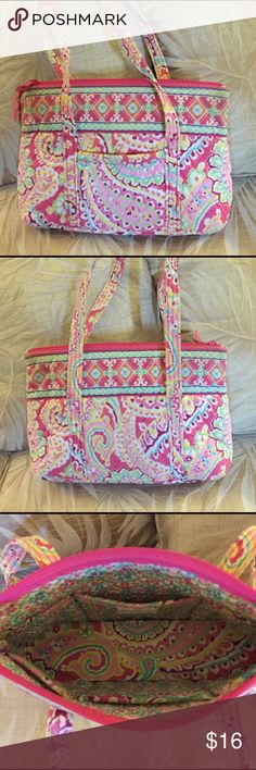 """Vera Bradley Capri Melon """"Betsy"""" Purse A small tote bag with a front pocket and six pockets on the inside, in the style called """"Betsy"""", and the retired pattern called """"Capri Melon"""". In good condition, only slightly used. The bag has been washed once, as it is machine washable and the colors are still vibrant. From a pet-free and smoke-free home. Vera Bradley Bags Shoulder Bags"""