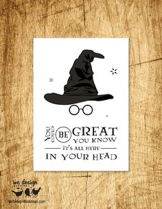 Printable - Harry Potter Sorting Hat Birthday Card. DIY Digital Download, design features the sorting hat, glasses and typography (Geek Stuff Harry Potter)