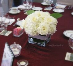 Rose & Hydrangea centerpiece. #RoseOfSharon