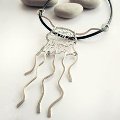 Contemporary Waterfall Necklace - Sterling Silver Pendant - Hammered & Wire Wrapped, Fine Jewelry