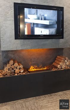 Television y chimenea eléctrica falsa vapor de agua Ethanol Fireplace, Fake Fireplace, Electric Fireplace Insert, Small Condo, Real Fire, Condo Decorating, Fireplace Inserts, The Incredibles, Cold