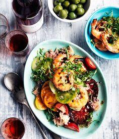Barbecued prawn panzanella salad recipe | Gourmet Traveller WINE recipe - Gourmet Traveller