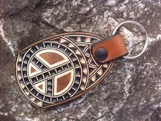 Peace signe hand carved leather keychain - leather keyring -leather keyfob