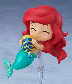 "The adventurous princess of the sea is joining the Nendoroids! From the popular movie ""The Little Mermaid"" comes a Nendoroid of Ariel! She comes with three face plates including a standard smile, a determined expression and a cheerful smile wi. Cute Disney, Disney Art, Walt Disney, Disney Pixar, Anime Figures, Action Figures, Animation Disney, Mermaid Cakes, Disney Dolls"