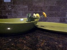 Vintage Avocado Green Oval Serving Bowl by maggiecastillo on Etsy, $12.00