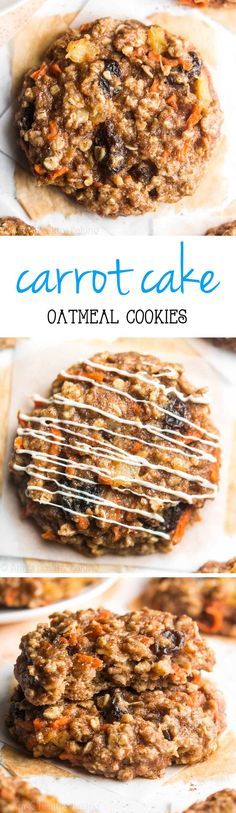 Clean-Eating Loaded Carrot Cake Oatmeal Cookies -- these skinny cookies don't taste healthy at all! You'll never need another oatmeal cookie recipe again!