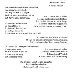 The Terrible Guest Pretty Words, Beautiful Words, Mental Health Poem, Thoughts And Feelings, Denial, Book Quotes, Depression, Poems, Things To Come