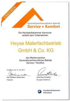 Ausgezeichnet! Generationsfreundlicher Betrieb Service und Komfort - Handwerkskammer Hannover verleiht uns das Markenzeichen