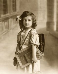 pretty little school girl with her slate board ...Love this photo!