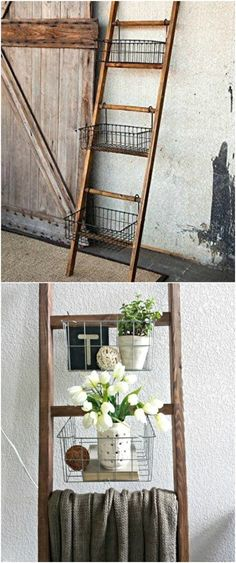 Upcycled Old Ladder Into Storage Wooden Ladder Decor, Old Wood Ladder, Vintage Ladder, Wooden Ladders, Diy Ladder, Ladder Storage, Decorative Ladders, Wood Ladder Shelf, Storage Ideas