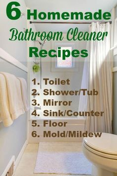 6 homemade bathroom cleaner recipes so you can clean your bathroom from top to bottom bathroom cleaning products Homemade Cleaning Supplies, Household Cleaning Tips, Household Cleaners, Cleaning Recipes, House Cleaning Tips, Spring Cleaning, Cleaning Hacks, Homemade Products, Diy Products