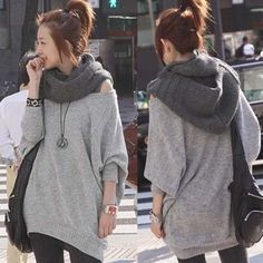 Fashion cool hooded knit scarf shawl wrap hat hood