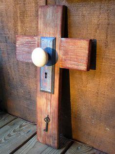 Handmade Wood Cross with antique ceramic door knob