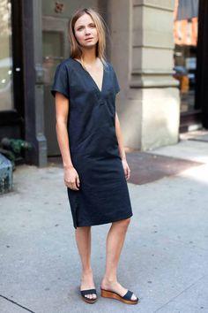 V Column Dress - Washed Slate   Emerson Fry