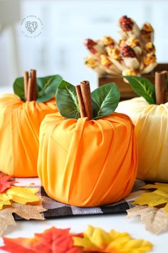 Toilet Paper Pumpkins - Fall and Halloween - SavingsManiaYou Will Need Rolls of toilet paper (any size) Fat Quarter cuts of fabric in color.Toilet Paper Pumpkins - How to make pumpkins out of toilet paper. This easy DIY fall decor idea is so simple t How To Make Pumpkin, Diy Pumpkin, Pumpkin Crafts, Paper Pumpkin, Pumpkin Ideas, Autumn Crafts, Fall Crafts For Kids, Thanksgiving Crafts, Holiday Crafts