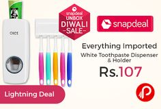 Snapdeal #UnboxSale is offering 79% off on Everything Imported White Toothpaste Dispenser with Toothbrush Holder just Rs.107. ABS Plastic, Personal hygiene is extremely important. To help you improve your hygiene, Snapdeal brings to you the Everything Imported ABS Plastic Brush Holder and Toothpaste dispenser. The toothbrush holder can hold five toothbrushes.   http://www.paisebachaoindia.com/everything-imported-white-toothpaste-dispenser-holder-just-rs-107-snapdeal/