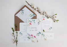 wedding invitations watercolor flower, miodunka papeteria, akwarelowe zaproszenia w kwiaty Watercolor Flower, Wedding Stationery, Garden, Garten, Lawn And Garden, Gardens, Gardening, Outdoor, Wedding Invitations