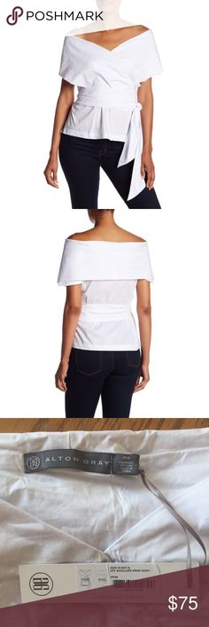 "Alton Ray Off The Shoulder Wrap Around Blouse Wrap Around Blouse by Alton Gray in white.  - Off-the-shoulder - Short sleeves - Wrap tie closure - Side slits - Woven construction - Approx. 22"" length  - 60% cotton, 35% nylon, 5% spandex Alton Gray Tops Blouses"