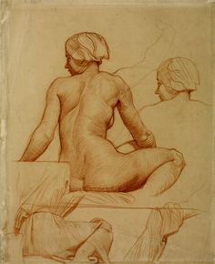 Alfred StevensStudy for a Seated Woman Gazing at 'Magog Thrown into the Sea', for Dorchester House c.1860