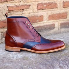 Handmade Military Boots, Ankle High Casual Blue Brown Leather Boots, Men Boot - Boots