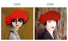 The Corn Poppy by Kees van Dongen, 1919 &  Norman Parkinson's After van Dongen, Vogue November 1959