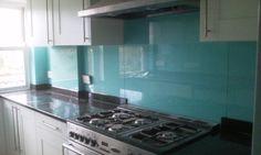 aqua glass splashback