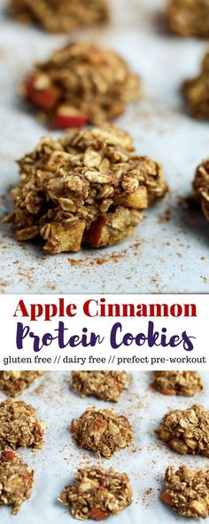 healthy meals food recipes diiner cooking Six ingredients make up these Apple Cinnamon Protein Cookies to make a low fat high protein snack, pre-workout meal, or healthy dessert - Eat the Gains High Protein Desserts, Low Fat Snacks, Healthy Protein Snacks, High Protein Recipes, Protein Foods, Healthy Treats, Healthy Desserts, Low Fat Meals, High Protein Muffins