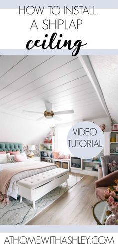 How to Install a Shiplap Ceiling - at home with Ashley Shiplap Paneling, Shiplap Ceiling, Plank Ceiling, Faux Shiplap, White Shiplap, Shiplap Diy, Drywall Ceiling, Wood Ceilings, Ceiling Fan