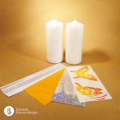 Bastelset Schmetterling orange - gelb Pillar Candles, Orange, Madness, Wax, Yellow, Candles