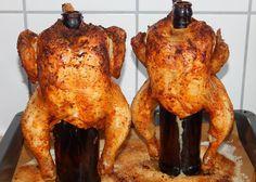 Запеченная курица на бутылке