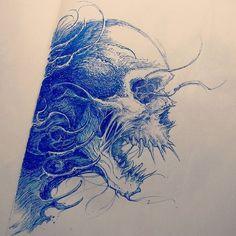 #skull #sketch #tattoosketch by nekronikon calavera dibujada con lapicero