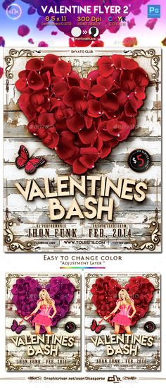 Valentines Day Flyer Template PSD #design Buy and Download: http://graphicriver.net/item/valentines-flyer-2-template/10011659?ref=ksioks