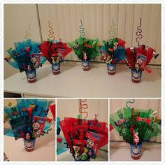 Thomas the Train Centerpieces Craftsbymeli@gmail.com Thomas Birthday Parties, Thomas The Train Birthday Party, Trains Birthday Party, Train Party, Birthday Party Decorations, Car Party, Third Birthday, Friend Birthday, Boy Birthday