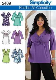 2409 Misses' & Plus Size Tops    Misses' & Plus Size Khaliah Ali Collection tops with neckline variations sewing pattern. See video tab for an in depth interview with Khaliah herself!