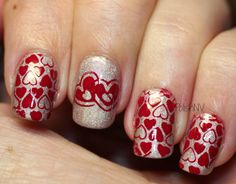 The base is A England Her Rose Adagio. Stamped with Konad Red. Plates used were Pueen 01 for the full nail design and Pueen 20 for the single hearts.