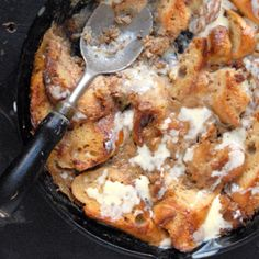 Served warm and topped with vanilla sauce, this twist on bread pudding makes an indulgent breakfast treat.