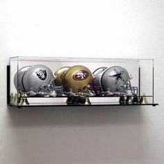 Deluxe Acrylic Triple Mini Football Helmet Display Case - Wall Mountable