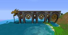 Dragon's End Pier Minecraft Map Minecraft Bridges, Minecraft Building Guide, Minecraft Structures, Minecraft Castle, Minecraft Medieval, Minecraft Plans, Minecraft Art, Minecraft Blueprints, Cool Minecraft Houses